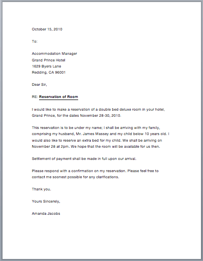 Sample Letter Of Guarantee For Hotel Reservation Google Search Carta En Ingles Cartas