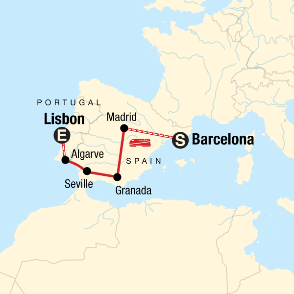Map Of The Route For Spain Portugal On A Shoestring Spain Portugal Lisbon Portugal