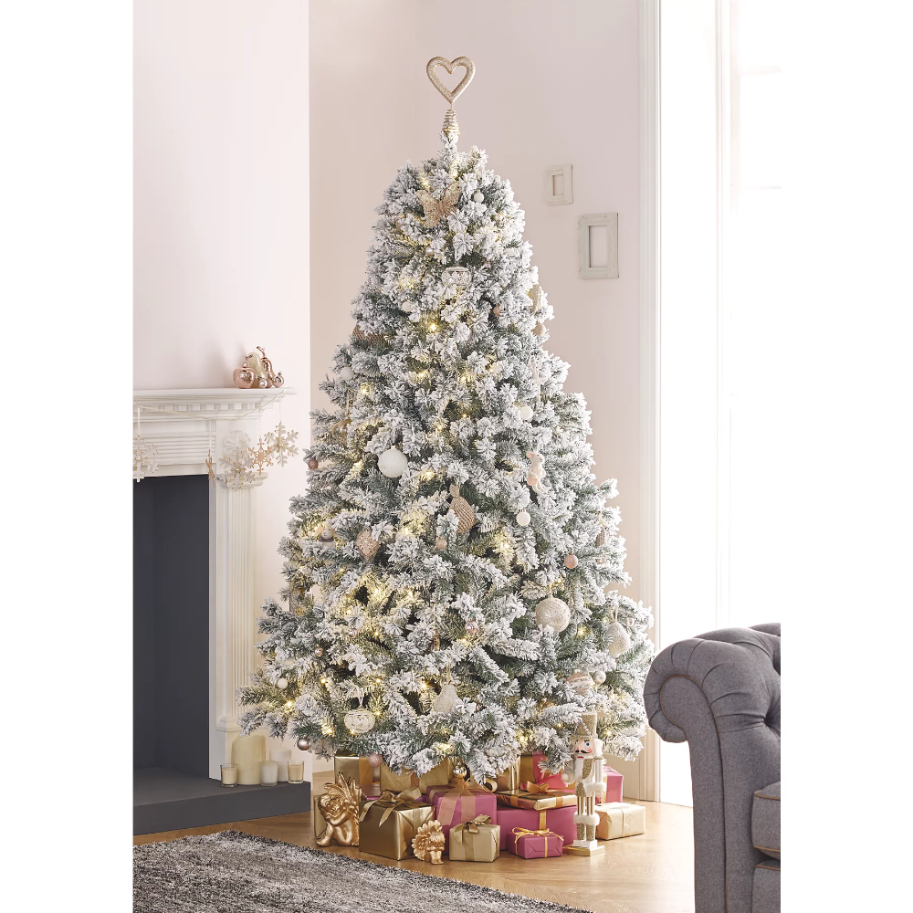7ft Snowy Pre Lit Christmas Tree Christmas George Christmas Decorations For The Home Pre Lit Christmas Tree Christmas Tree Lighting