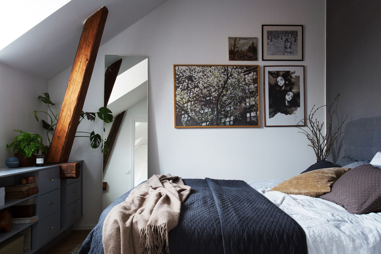 Small bedroom with exposed beams // full house tour here
