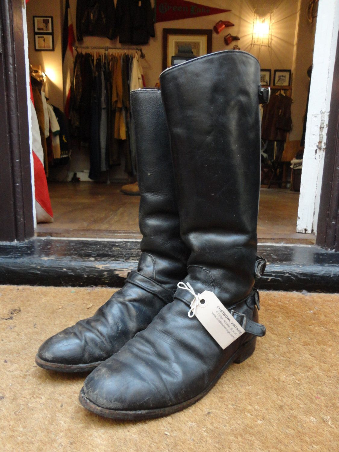Motorcycle gloves kingston - Vintage 1970s 70s Lewis Leathers Aviakit Black Leather Motorway Motorcycle Biker Boots 8 5 9 Rockabilly Police Back Zip Sheepskin Lined