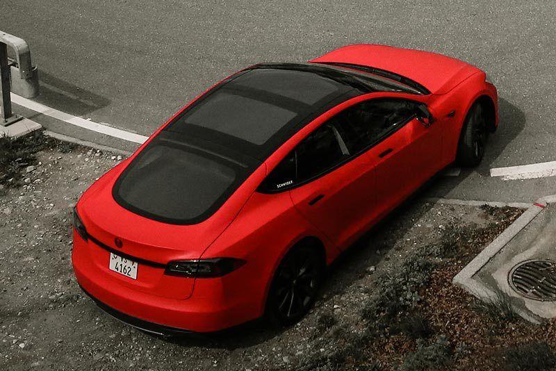 Matte Red Model S Wrap Schnyder Werbung Switzerland Matte Red Tesla Model S Red