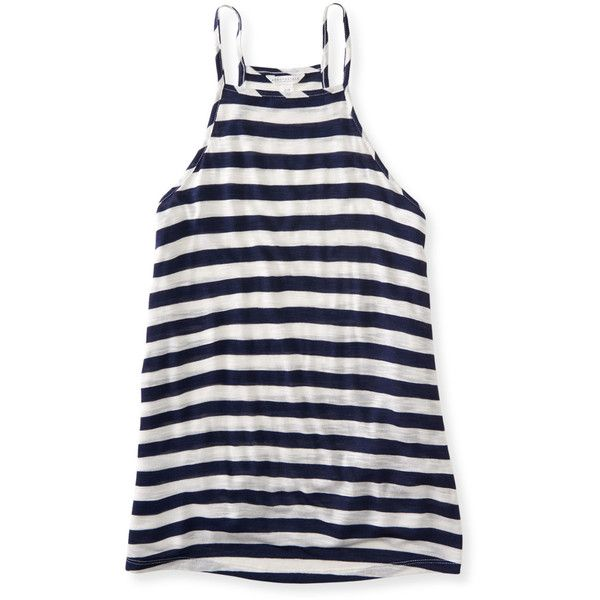 Aeropostale Striped High Neck Tank ($7.87) ❤ liked on