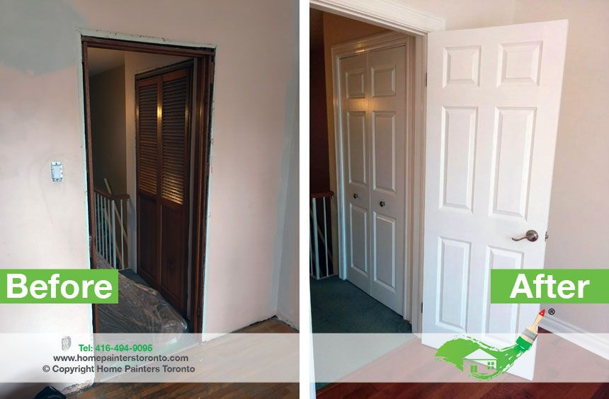Painted Doors Vs Stained Doors Painting Doors White Will Lighten Up Your Hallway It Is A Clean And Simple L Stained Doors Molding Installation Doors Interior