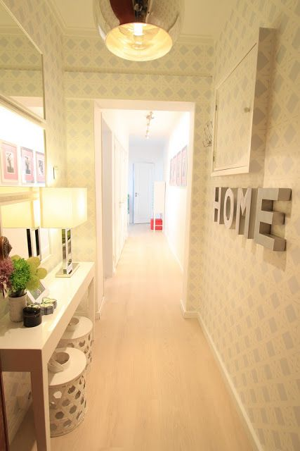 Muted Lattice Stencil Wallpaper In A Narrow Hallway Love The Feelings It Gives And Lamp Makes Warm Welcome