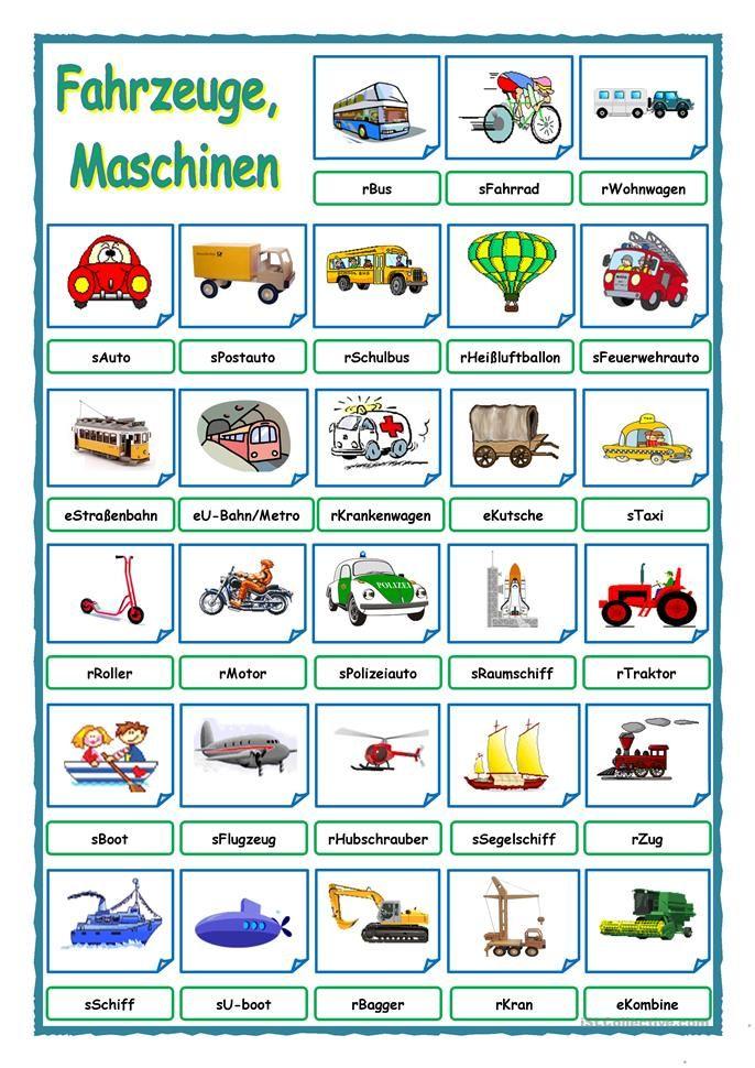 Fahrzeuge, Maschinen   Bildwörterbuch, Übungsblatt und Sprachen