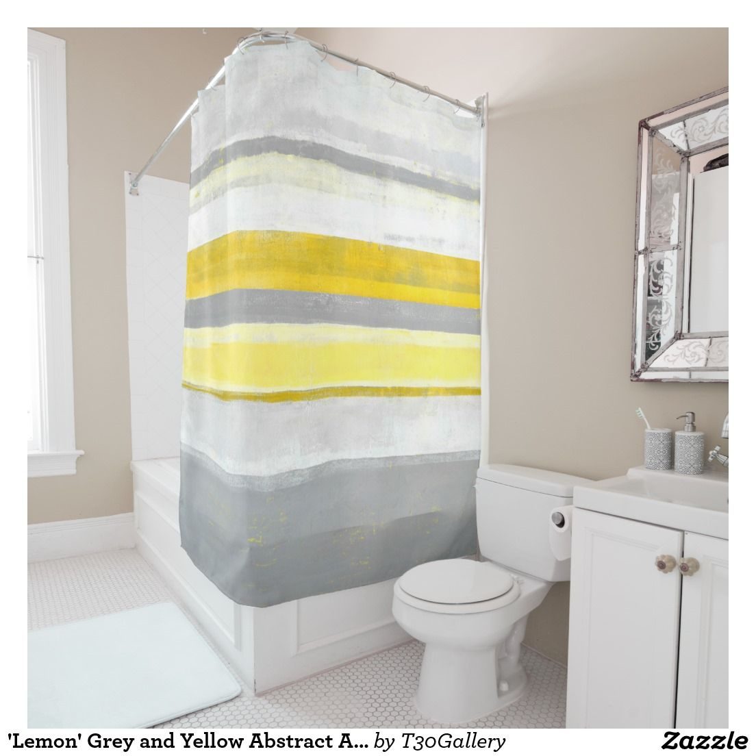 Best Lemon Grey And Yellow Abstract Art Shower Curtain 400 x 300