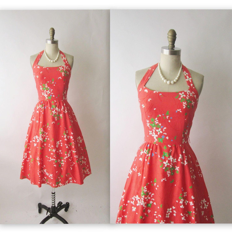 60's Halter Dress // Vintage 1960's Floral Print Garden Party Halter Dress XS. $32.00, via Etsy.