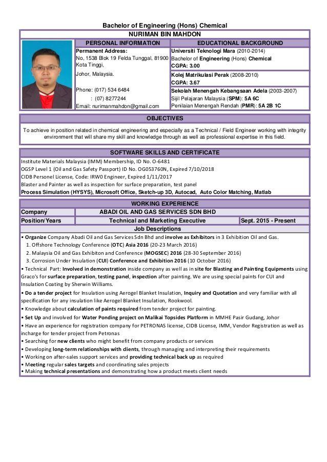 Resume Engineer Malaysia in 2020 Malaysia, Engineering