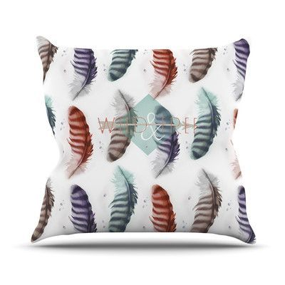 """KESS InHouse Wildfree by Lydia Martin Feather Throw Pillow Size: 20"""" H x 20"""" W x 4"""" D"""