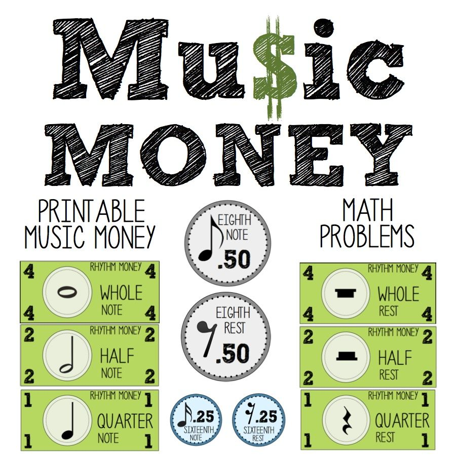 Music Money- Printable Music Money- Math Connection Worksheets ...