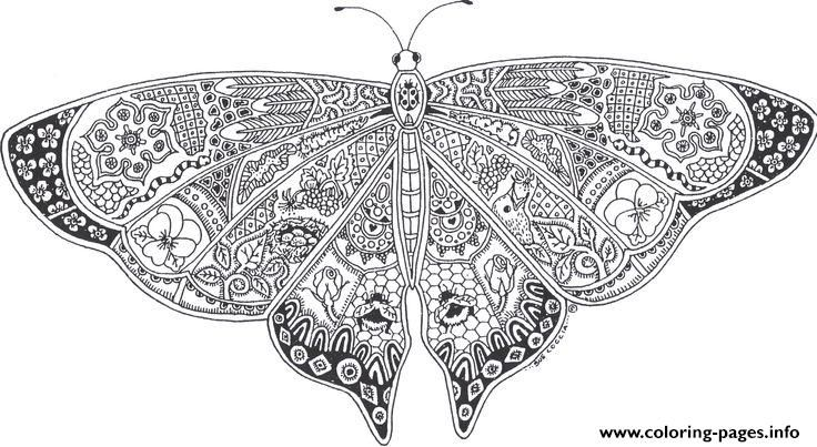 Print butterflies adult picture online free coloring pages Vintage
