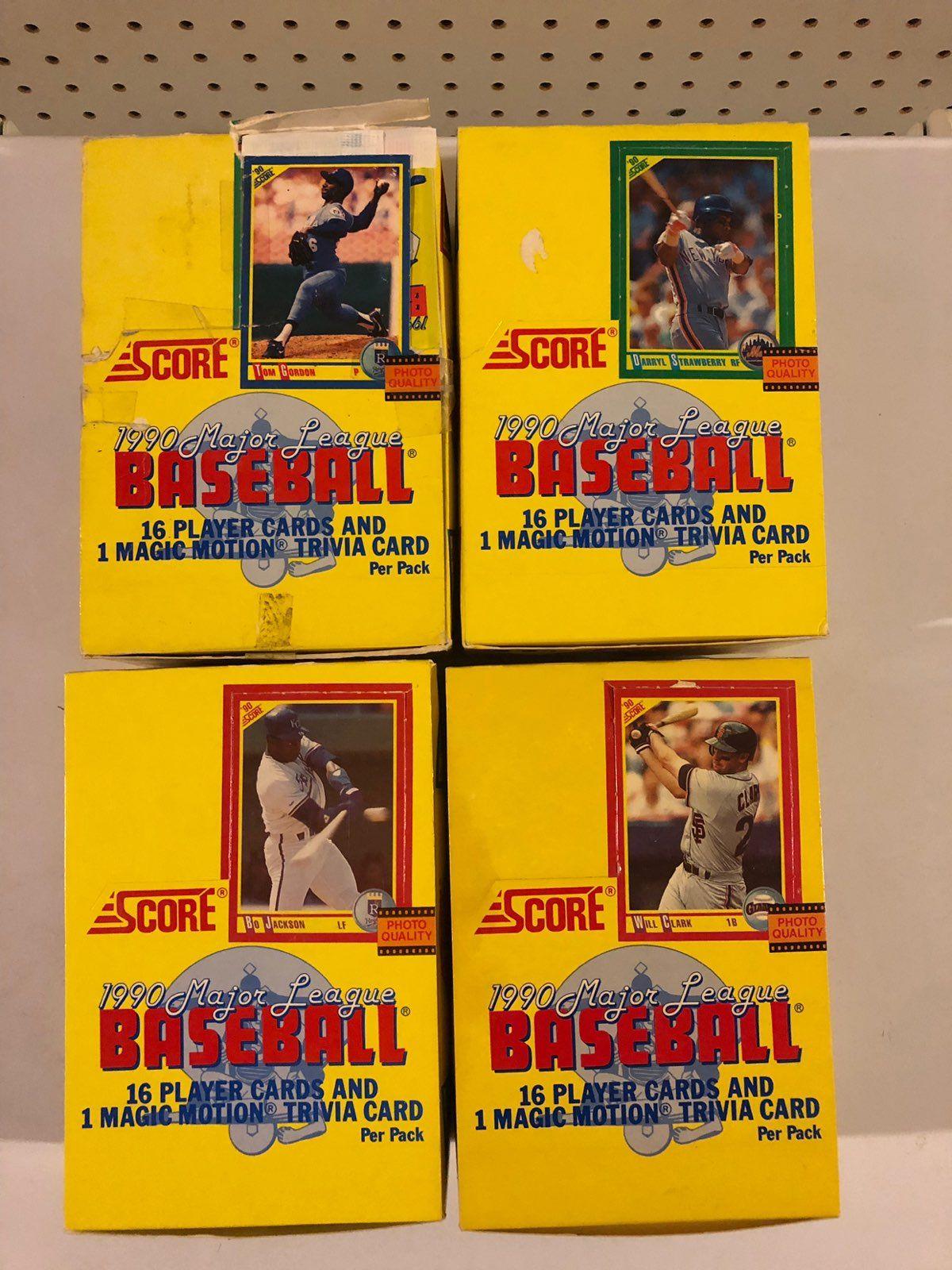 1990 score unopened baseball card packs 4 boxes