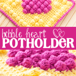 Crochet Bobble Heart Potholder | You Should Craft #potholders