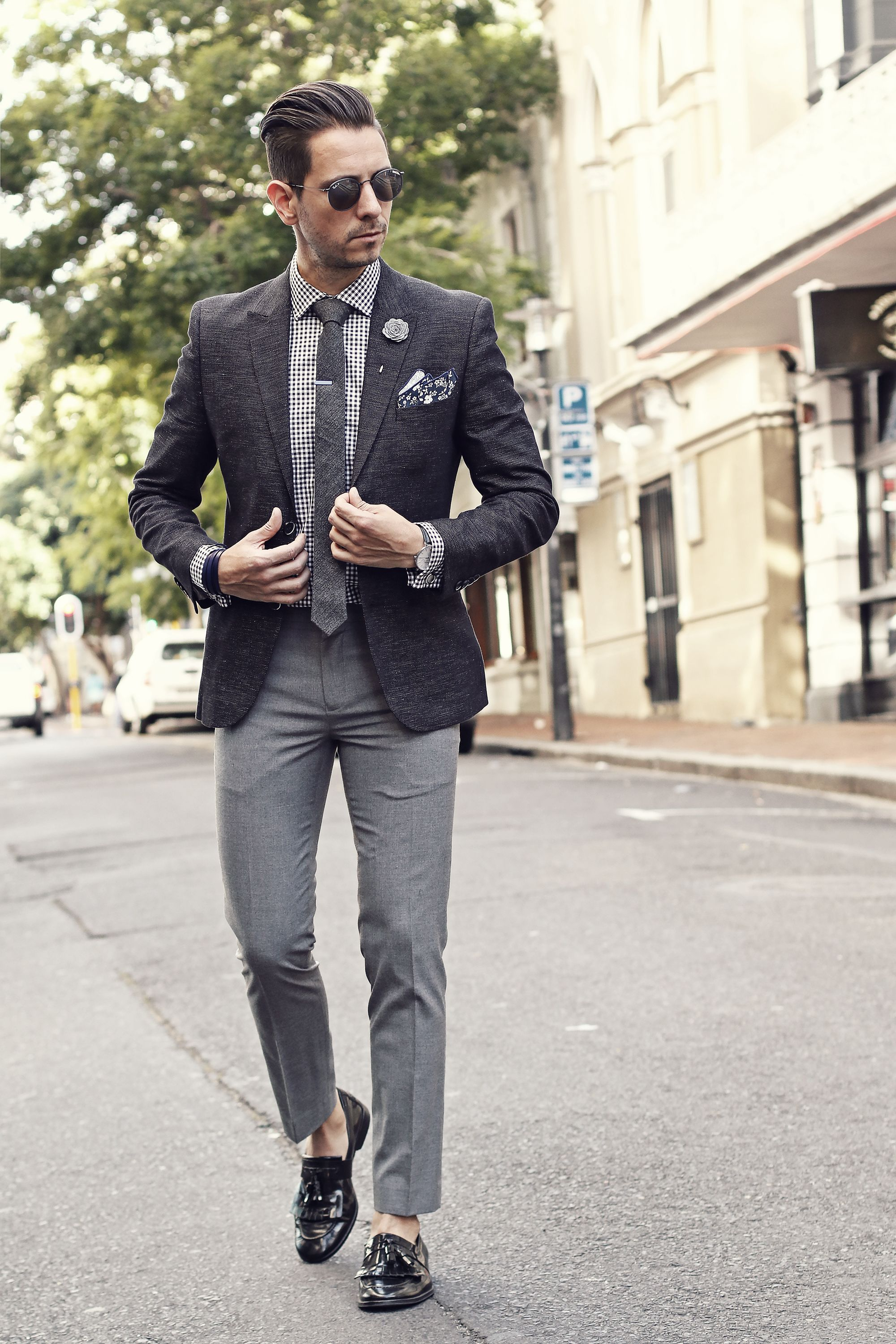 Black Blazer Black And White Gingham Shirt Grey Tie Blue Tie Clip Grey Lapel Flower Blue And White Flo Blazer Outfits Men Mens Outfits Mens Casual Outfits [ 3000 x 2000 Pixel ]