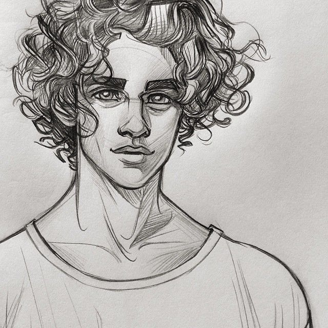 Line Drawing Boy Face : Drawing of a boy with curly hair this is not my