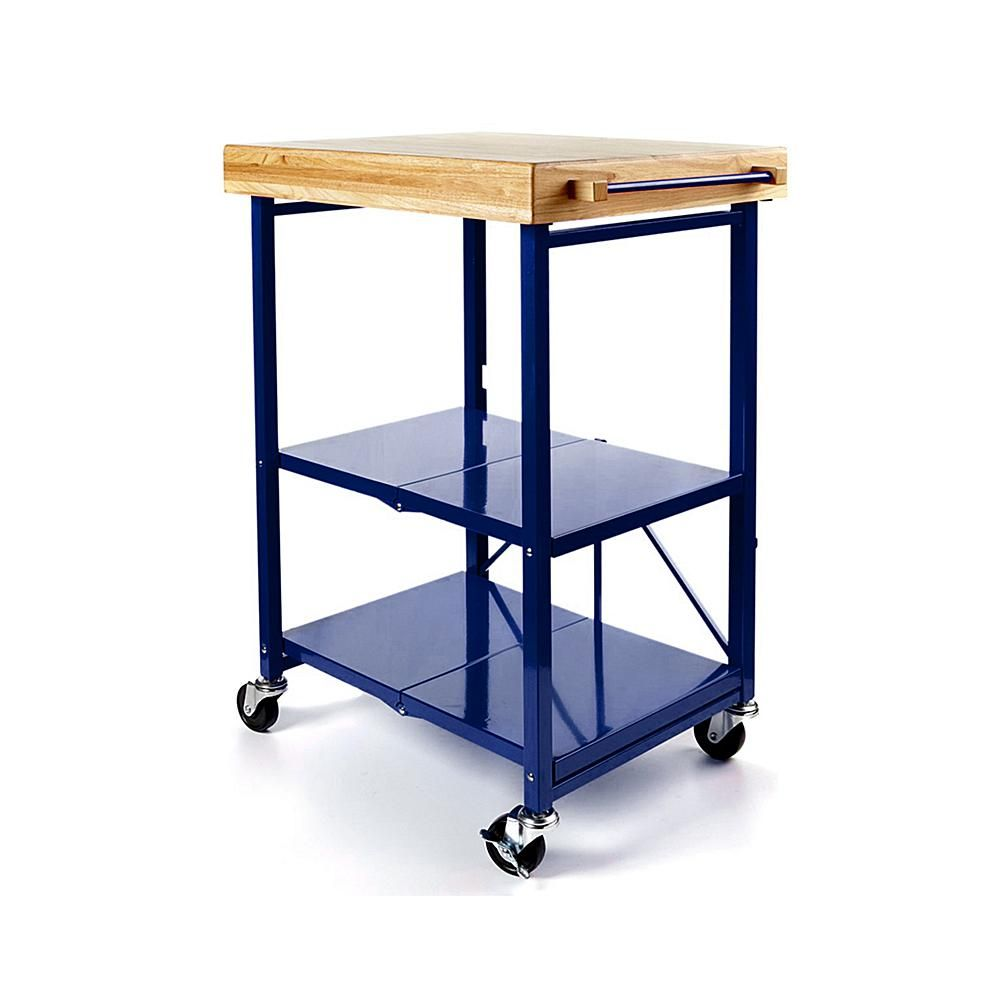 Exceptional Origami Folding Kitchen Island Cart With Casters   Blue