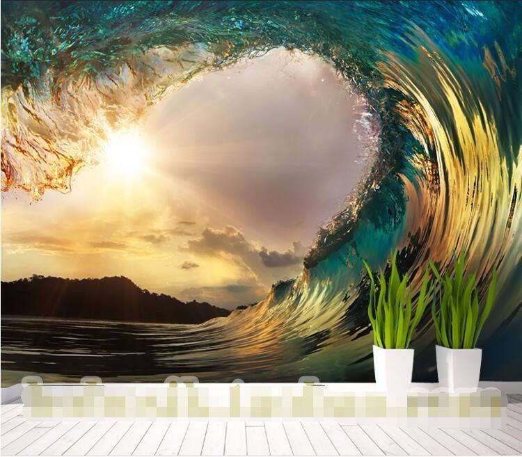 3D Wallpaper Bedroom Mural Roll Luxury Modern Waves Sea Sunset Wall  Background #New
