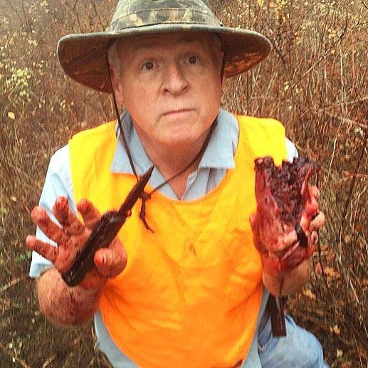 My pops  playin with exploded heart. Pretty normal procedure imo. #weird#weirddude#oddball#odd#odddude#wtf#blood#gore#death#anatomy#damn#pops#dad#hunting#exploded#hunter#bloody#horror#normal#bloodied#holyshitballs#holyshit#omfg#imo by adamlundy1031