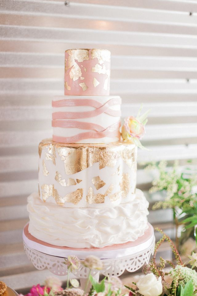 Gold And Blush Pink Wedding Cake