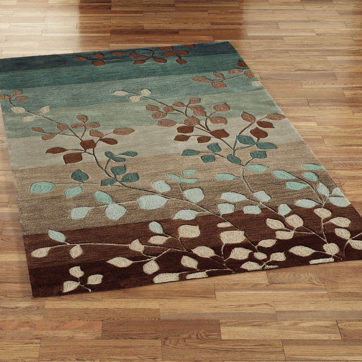 Beautiful Gradition Style Rug Decorating Ideas With Simple Square Shaped Design And Amazing Leafs Pattern