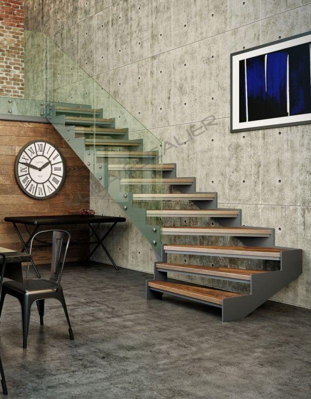 Escalier contemporain Design moderne Quart tournant départ Limon ...