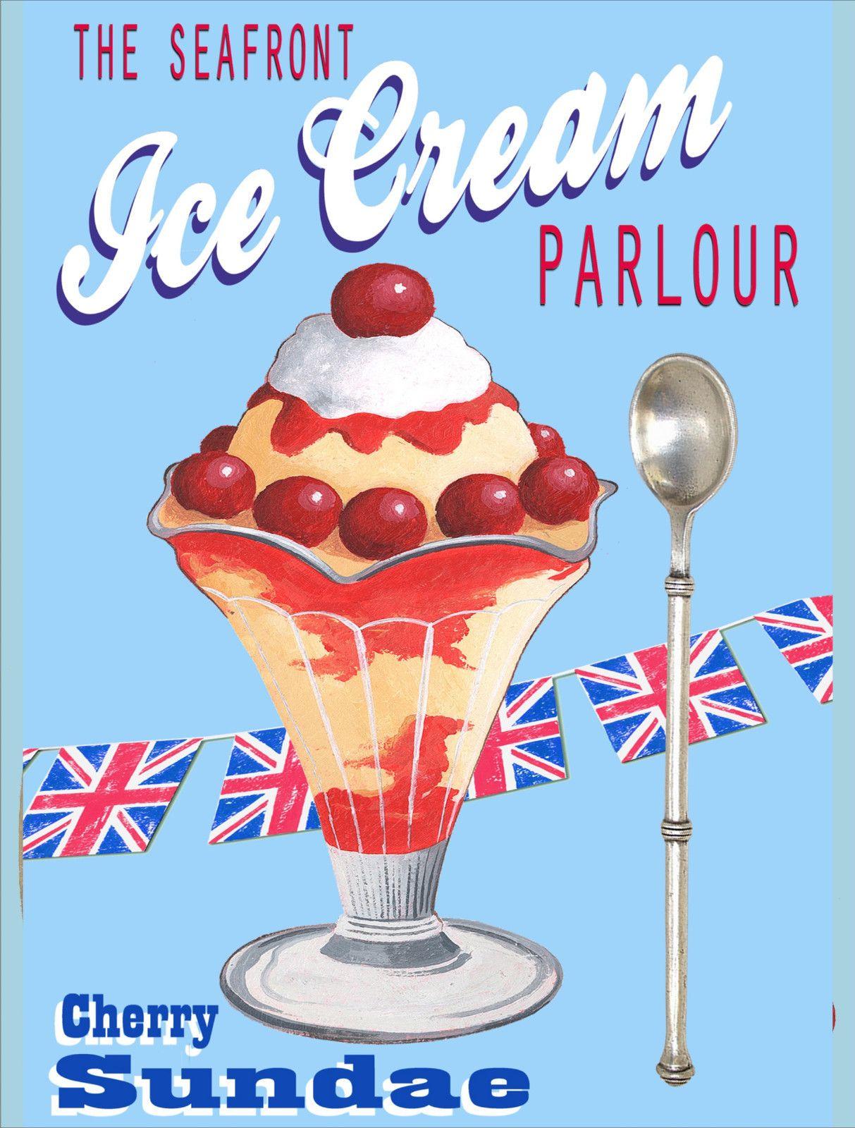 Details About New Retro Cherry Sundae Ice Cream 24 Vintage Style
