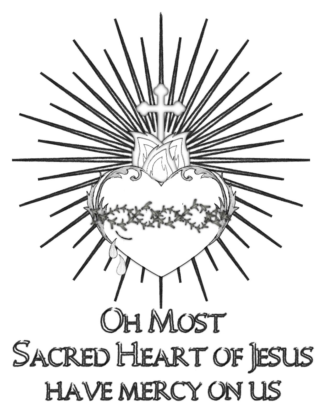 Free Sacred Heart Of Jesus Coloring Page Sacred Heart Sacred