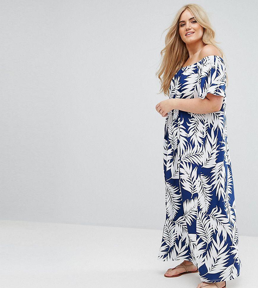 ASOS CURVE Off Shoulder Maxi Sundress In Navy Palm Print