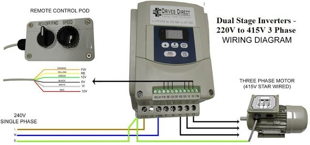 dual stage inverter - 220v to 415v 3 phase - wiring diagram, Wiring diagram