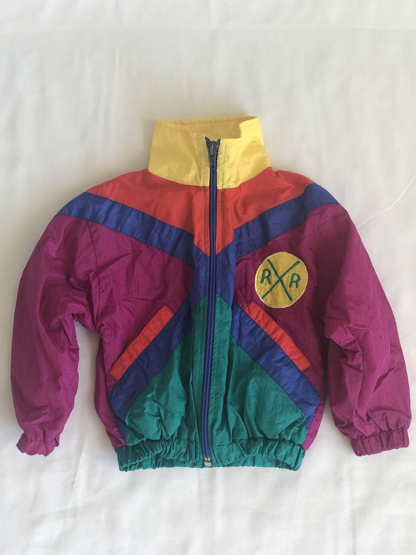 4a31d18aecd7 Vintage 90s Color Blocked Nylon Windbreaker  Track Jacket  Zip Front ...