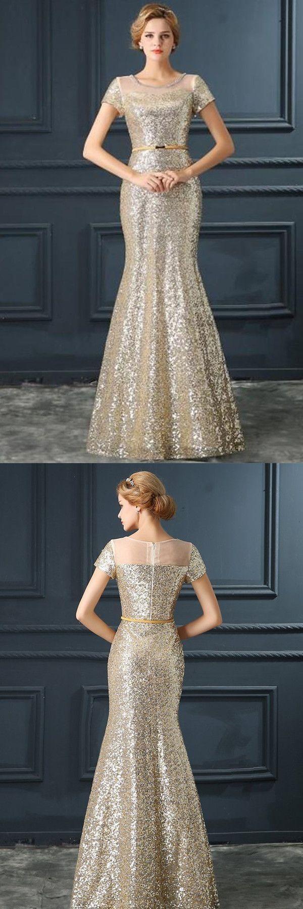 Cheap engrossing prom dresses mermaid stunning jewel short sleeves