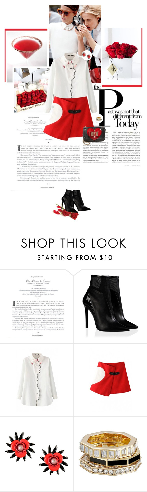 """""""Beautiful Halo XXIV"""" by dreamer-ena ❤ liked on Polyvore featuring MSGM, Marc by Marc Jacobs, Christian Louboutin, booties, whiteshirt, redskirt and bhalo"""