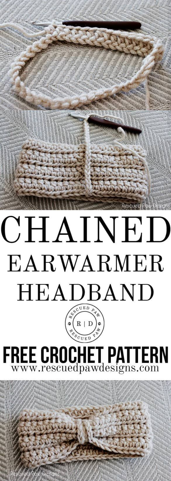 Crochet Chained Ear Warmer Pattern by Rescued Paw Designs | Diademas ...