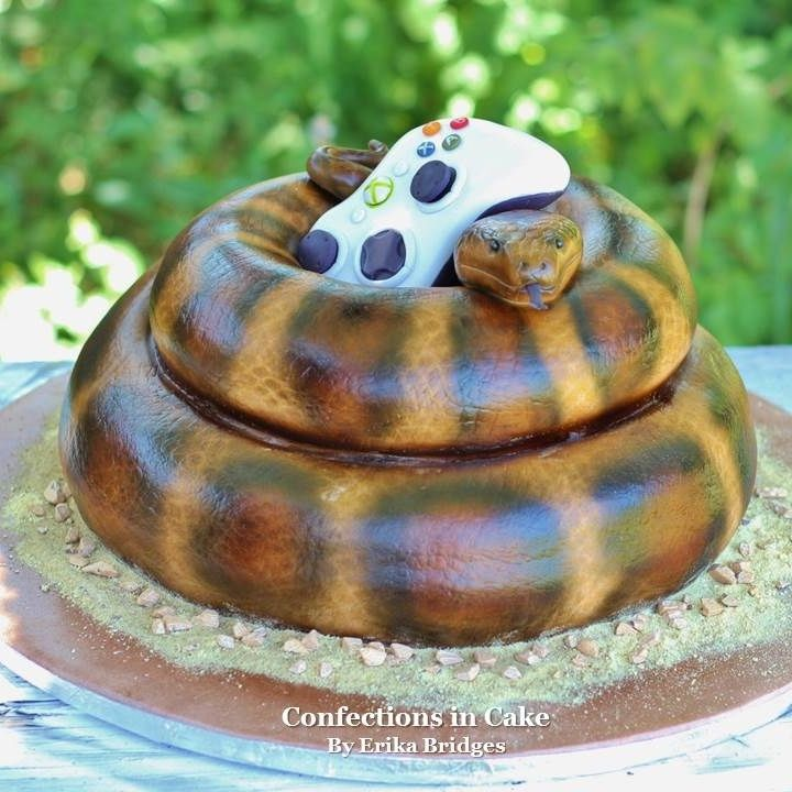 snake cake, xbox 360 remote cake | ben's 7 bday party | pinterest