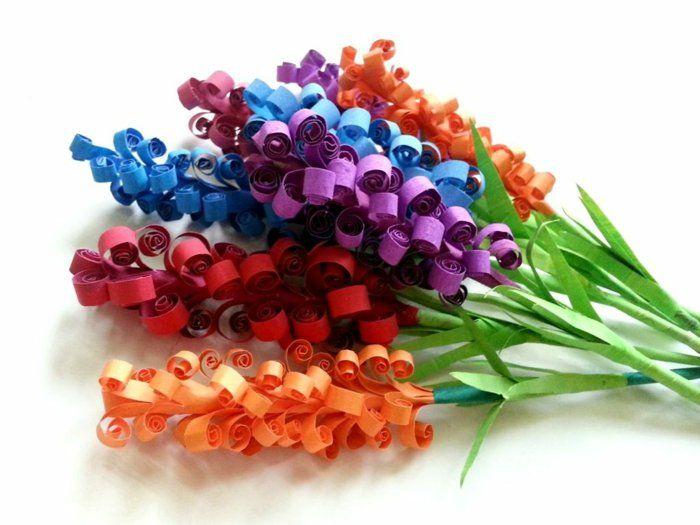 bastelideen frühling blumen basteln papier farbige dekoideen DIY - blumen basteln