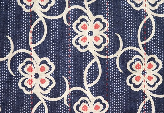 Carharrack Floral Cotton Curtain Fabric Lovely Navy Blue Cotton