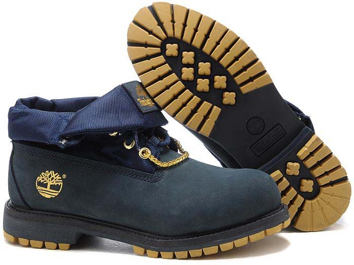 timberland yellow and black roll top boots