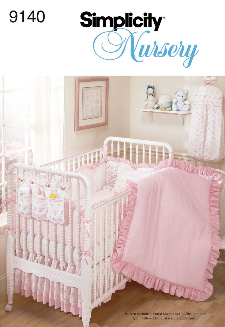Baby bed sheet pattern - Fitted Sheet Dust Ruffle For Crib Sewing Pattern 9140 Simplicity Like The Organizer On
