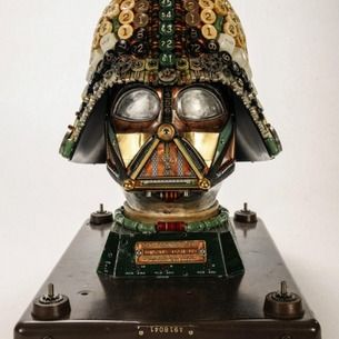 Darth Vader helmet crafted with recycled computer parts
