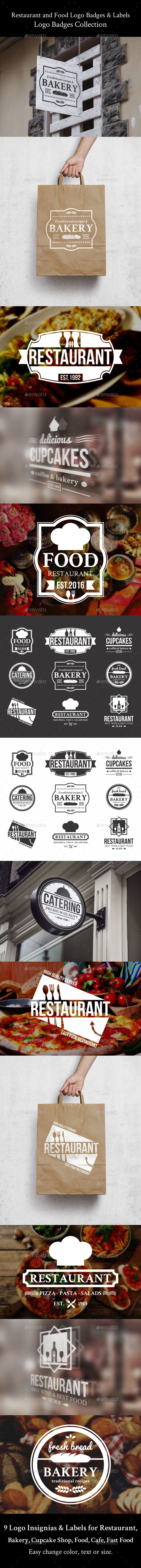restaurant and food logo badges labels template vector eps ai