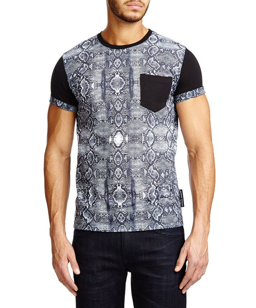 New Criminal Damage Cobra Black T Shirt Medium Mens Designer T Shirt