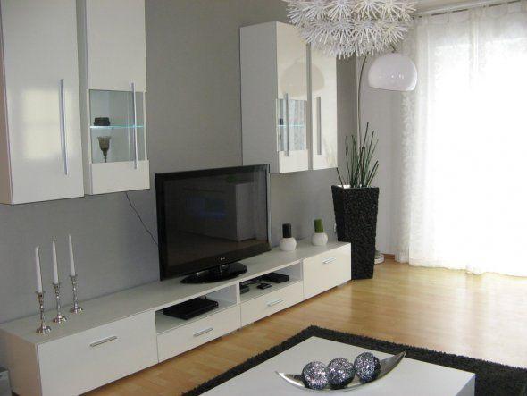 MEMPHIS Wohnwand weiß Abs anthrazit #modern #wohnzimmer - wohnwand dekorieren