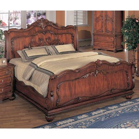 Richmond Sleigh Wood Bed in Dark Cherry | Dark wood bed ...