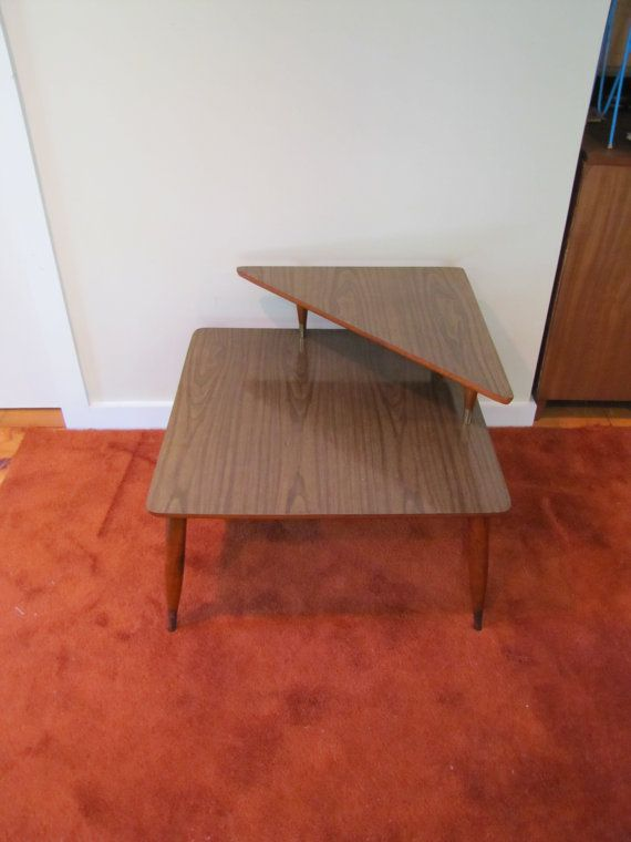 Mid Century Modern Square Corner Table Two Level Side Table Peg - Mid century modern corner table