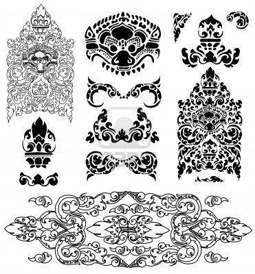 Vector set of Cambodian floral pattern  Stock Photo