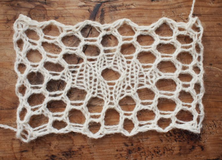 Étude number 10: a hexagonal knitted relative of filet lace- I don't understand knit, but I do love the texture