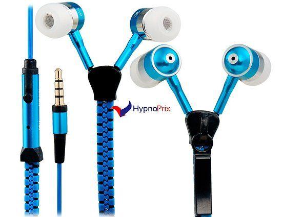 Écouteurs / casque Zipper avec microphone (bleu)