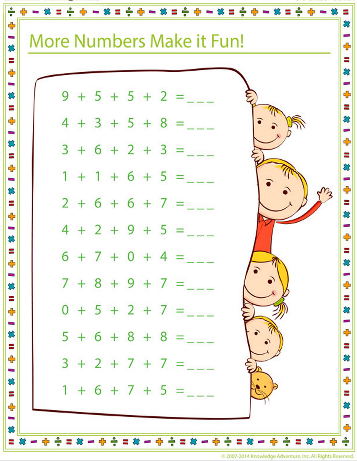 3rd grader printable math work sheet practice on the topic of ...