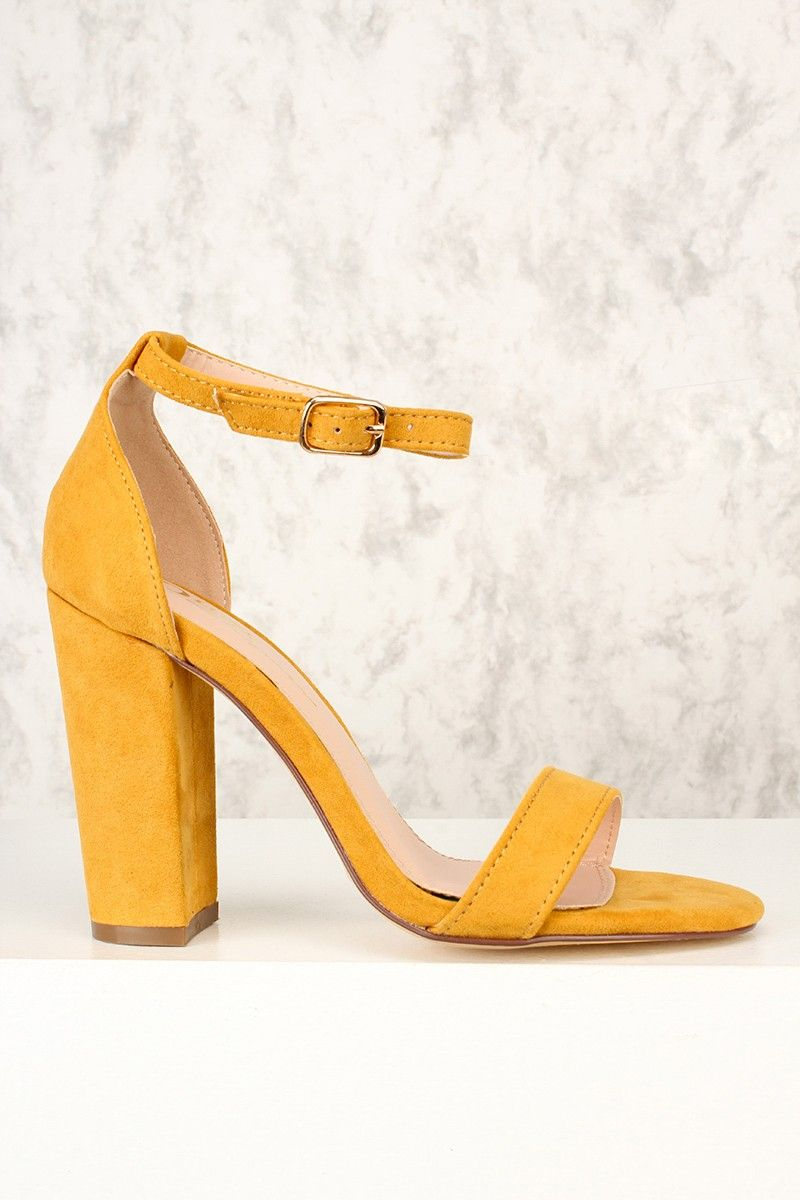 f3a19df2411 Sexy Mustard Open Toe One Strap Chunky High Heels Faux Suede